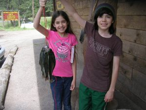 Jasmine And Her Brother Emanuel With Their Stringer Of Rainbows From The Kid's Pond