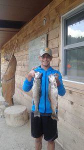 "William Bixler And His Two 18"" Rainbows From Fenton Lake October 4, 2015"