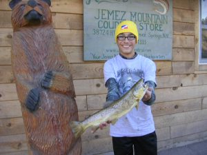 """15 Year Old William Bixler Of Rio Rancho Shows Off His 18"""" Brown Trout From Rio Cebolla Caught On November 15, 2014"""