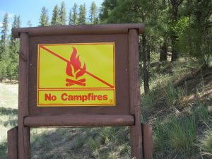 No Campfires Except In Established Campgrounds